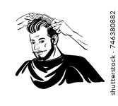 haircuts process. the hands of... | Shutterstock .eps vector #746380882