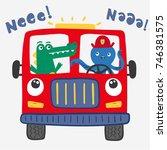 funny fire truck illustration... | Shutterstock .eps vector #746381575