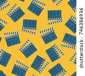 clapperboard over yellow...   Shutterstock .eps vector #746386936
