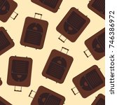 brown modern valise seamless... | Shutterstock .eps vector #746386972