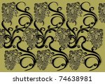 retro floral background with...   Shutterstock .eps vector #74638981