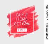 buy 2 get 1 free sale text over ... | Shutterstock .eps vector #746390482