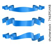 blue ribbon banners. shiny silk ... | Shutterstock . vector #746391448