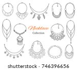 fashionable necklaces... | Shutterstock .eps vector #746396656