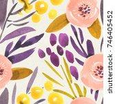 seamless watercolor pattern on... | Shutterstock . vector #746405452