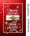 vector merry christmas and 2018 ... | Shutterstock .eps vector #746409736