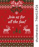 ugly sweater christmas party... | Shutterstock . vector #746411926