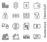 thin line icon set   coin stack ... | Shutterstock .eps vector #746413165
