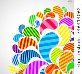 bright striped colorful curved... | Shutterstock .eps vector #746414062