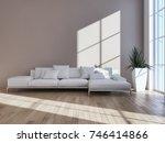 modern bright interiors. 3d... | Shutterstock . vector #746414866