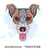 patterned head of dog terrier... | Shutterstock .eps vector #746415268