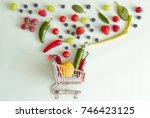 small grocery shopping cart... | Shutterstock . vector #746423125