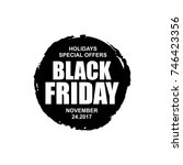 black friday round icon.... | Shutterstock .eps vector #746423356