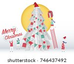 christmas card concept and... | Shutterstock .eps vector #746437492