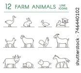farm animals line icons. flat... | Shutterstock .eps vector #746440102