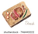 watercolor hand drawn food... | Shutterstock . vector #746443222