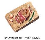 watercolor hand drawn food... | Shutterstock . vector #746443228