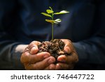 plant growing on soil with hand ... | Shutterstock . vector #746447722