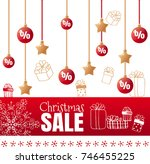 christmas sale card with hand... | Shutterstock .eps vector #746455225