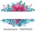 winter watercolor illustration. ... | Shutterstock . vector #746470192