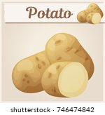 whole and half potato vegetable....   Shutterstock .eps vector #746474842