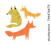 vector cute foxes  family.... | Shutterstock .eps vector #746476675