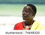 portrait of young masai man... | Shutterstock . vector #74648320