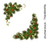 christmas decorations with fir... | Shutterstock .eps vector #746484496