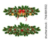 christmas decorations with fir... | Shutterstock .eps vector #746484502
