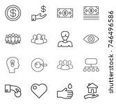 thin line icon set   dollar ... | Shutterstock .eps vector #746496586