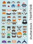 set of photo booth props masks... | Shutterstock .eps vector #746497648