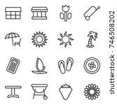 thin line icon set   market ... | Shutterstock .eps vector #746508202