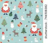 seamless pattern on christmas... | Shutterstock .eps vector #746508382