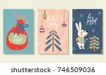 set of christmas cards with... | Shutterstock .eps vector #746509036