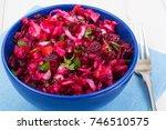 vegetarian menu. beetroot salad ... | Shutterstock . vector #746510575