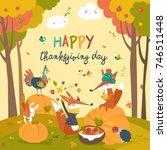 cute animals celebrating...   Shutterstock .eps vector #746511448