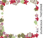 cute floral frame. colorful... | Shutterstock .eps vector #746518468