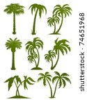 set of palm tree silhouettes... | Shutterstock .eps vector #74651968