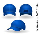 blue baseball cap set front... | Shutterstock .eps vector #746526346