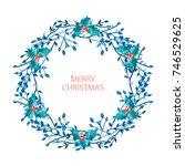 elegant christmas wreath with... | Shutterstock .eps vector #746529625
