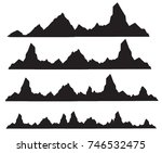 set of black and white mountain ... | Shutterstock .eps vector #746532475