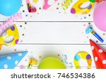 birthday party background with... | Shutterstock . vector #746534386