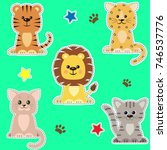 set of different kinds of cats... | Shutterstock . vector #746537776
