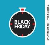 flat black friday stopwatch on... | Shutterstock .eps vector #746538862