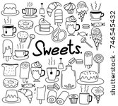 hand drawn doodle vector sweets ... | Shutterstock .eps vector #746545432