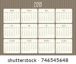 year 2018 vector monthly hand... | Shutterstock .eps vector #746545648