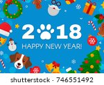 2018 happy new year greeting... | Shutterstock .eps vector #746551492