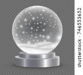 christmas snow globe isolated.... | Shutterstock .eps vector #746553652