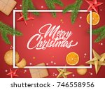 christmas holiday winter poster.... | Shutterstock .eps vector #746558956