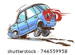 emergency braking. cartoon car... | Shutterstock .eps vector #746559958